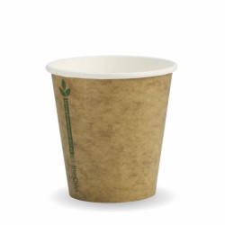 230ml / 6oz (80mm) Kraft Green Line Single Wall BioCup