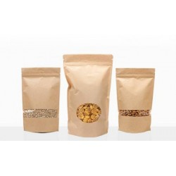 Stand Up Pouch - Resealable - Kraft Paper 500g with Oval Window