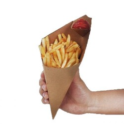 Snack Cone Kraft 200x117mm 500 with Sauce Compartment