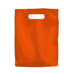 Coloured Low Density Plastic Fashion Bag - Orange Small