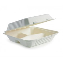 Eco Friendly BioPak BioCane Takeaway Container - 3-Compartment Clamshell