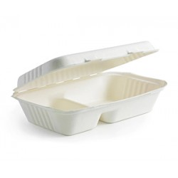 Eco Friendly BioPak BioCane Takeaway Container - 2-Compartment Clamshell