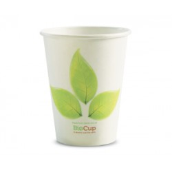 Eco Friendly Hot Paper Cup - 12oz Single Wall White BioLeafe