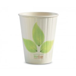 Eco Friendly Hot Paper Cup - 12oz Double Wall White BioLeafe
