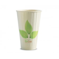 Eco Friendly Hot Paper Cup - 16oz Double Wall White BioLeafe