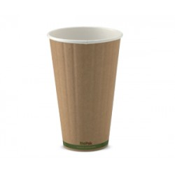 Eco Friendly Hot Paper Cup - 16oz Double Wall Brown