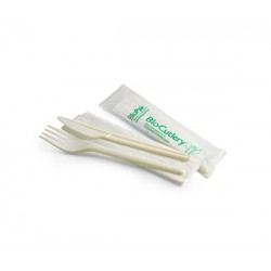 Eco Friendly BioPlastic Fork Knife and Napkin - 152mm PSM