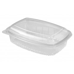 Plastic Container Rectangle - Hinged Lid 700ml