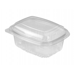 Plastic Container Rectangle - Hinged Lid 400ml
