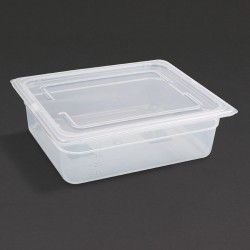 Vogue Polypropylene Gastronorm Pan 1/2 with Lid 100mm