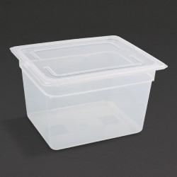 Vogue Polypropylene Gastronorm Pan 1/2 with Lid 200mm