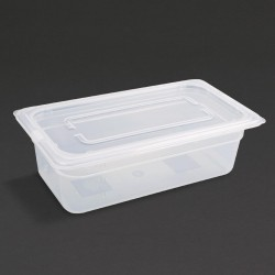 Vogue Polypropylene Gastronorm Pan 1/3 with Lid 100mm