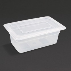 Vogue Polypropylene Gastronorm Pan 1/4 with Lid 100mm