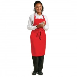 Le Chef Polycotton Bib Apron Red
