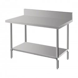 Vogue Premium Stainless Steel Table with Splashback 1200mm