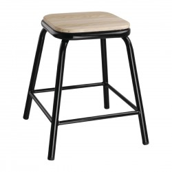 Bolero Black Low Stool with Wooden Seatpad (Pack of 4