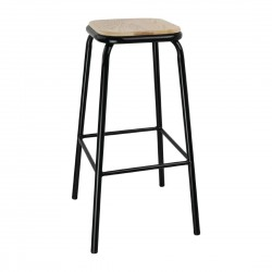 Bolero Black High Stool with Wooden Seatpad (Pack of 4