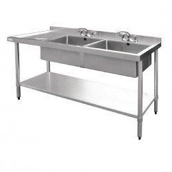 Vogue Double Bowl Sink Left Hand Drainer 1800mm