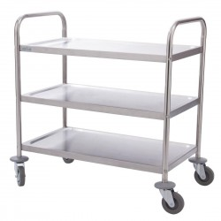 Vogue Stainless Steel 3 Tier Clearing Trolley Small