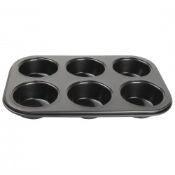 Vogue Carbon Steel Non-Stick Muffin Tray 6 Cup