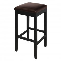 Bolero Faux Leather High Bar Stools Dark Brown (Pack of 2