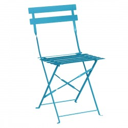 Bolero Pavement Style Steel Chairs Seaside Blue (Pack of 2