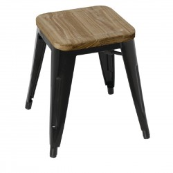 Bolero Black Steel Bistro Low Stools with Wooden Seatpad (Pack of 4
