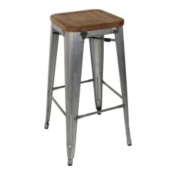 Bolero Galvanised Steel Bistro High Stools with Wooden Seatpad (Pack of 4