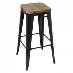 Bolero Black Steel Bistro High Stools with Wooden Seatpad (Pack of 4