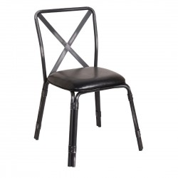 Bolero Antique Black Steel Chairs with Black PU Seat (Pack of 4