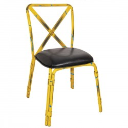 Bolero Antique Yellow Steel Chairs with Black PU Seat (Pack of 4