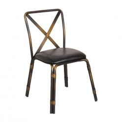 Bolero Antique Copper Steel Chairs with Black PU Seat (Pack of 4