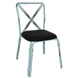 Bolero Antique Sky Blue Steel Chairs with Black PU Seat (Pack of 4